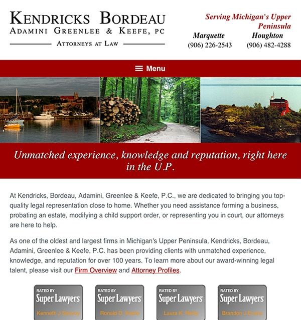 Mobile Friendly Law Firm Webiste for Kendricks, Bordeau, Adamini, Greenlee & Keefe, P.C.