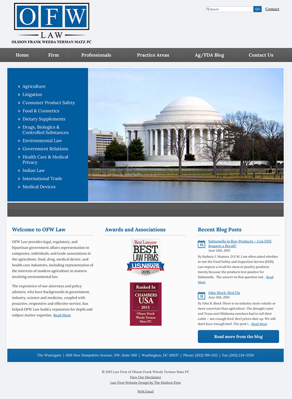 Law Firm Website for Olsson Frank Weeda Terman Matz PC