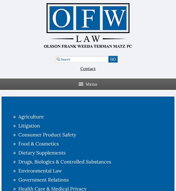 Mobile Friendly Law Firm Webiste for Olsson Frank Weeda Terman Matz PC