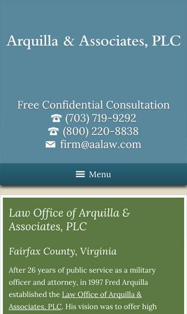 Responsive Mobile Attorney Website for Arquilla & Associates, PLC