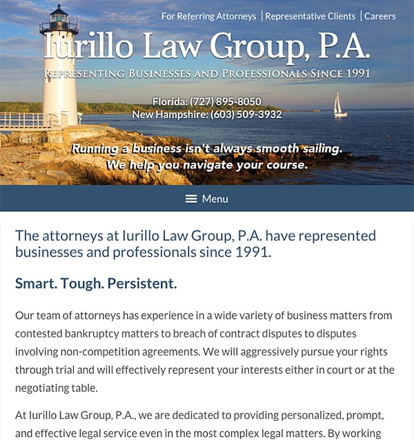 Mobile Friendly Law Firm Webiste for Iurillo Law Group, P.A.