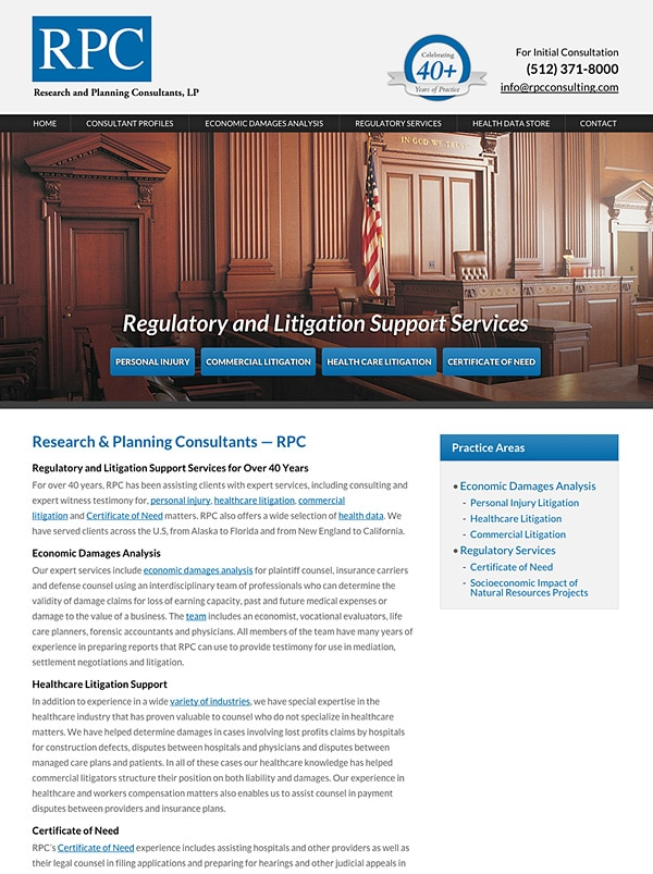 Law Firm Website Design for Research and Planning Consultants, LP