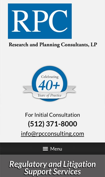 Responsive Mobile Attorney Website for Research and Planning Consultants, LP