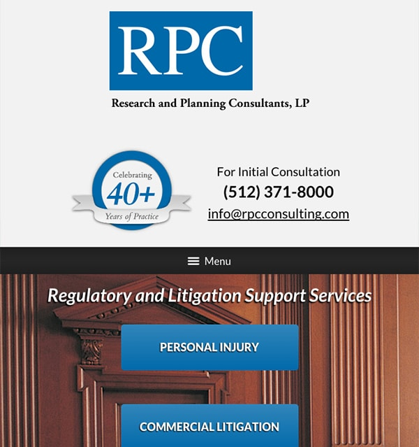 Mobile Friendly Law Firm Webiste for Research and Planning Consultants, LP