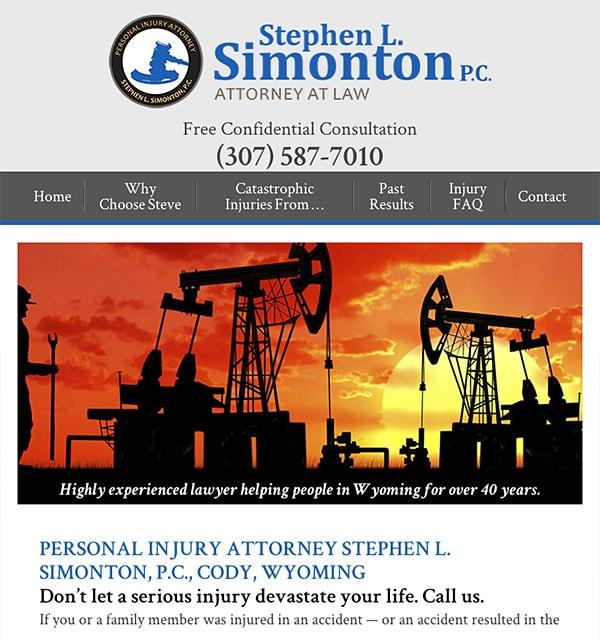 Mobile Friendly Law Firm Webiste for Stephen L. Simonton P.C.