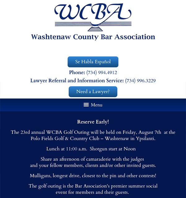 Mobile Friendly Law Firm Webiste for Washtenaw County Bar Association