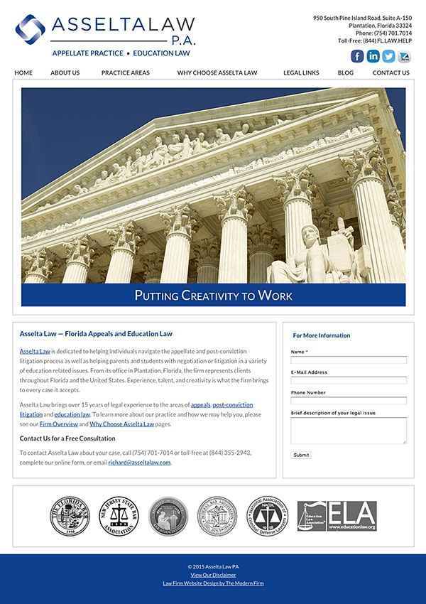 Law Firm Website Design for Asselta Law PA