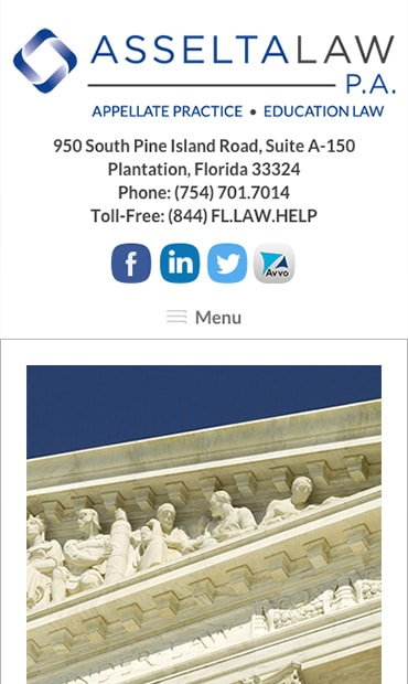 Responsive Mobile Attorney Website for Asselta Law PA