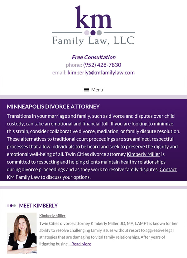 Mobile Friendly Law Firm Webiste for KM Family Law, LLC