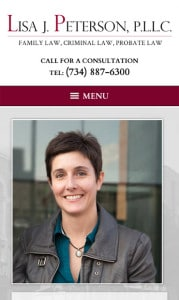 Ann Arbor Solo Attorney Website Design for Mobile Phone