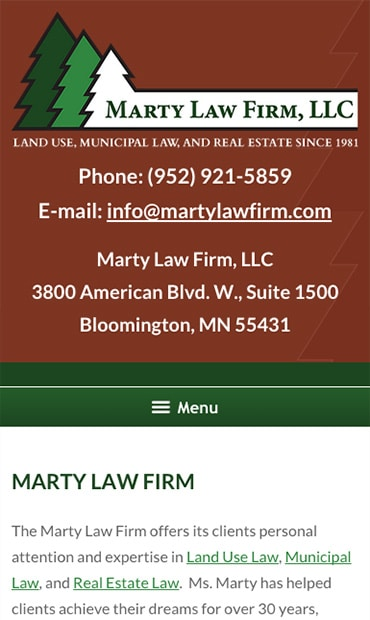 Responsive Mobile Attorney Website for Marty Law Firm, LLC