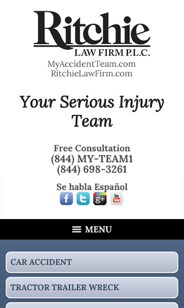 Responsive Mobile Attorney Website for Ritchie Law Firm, P.L.C.