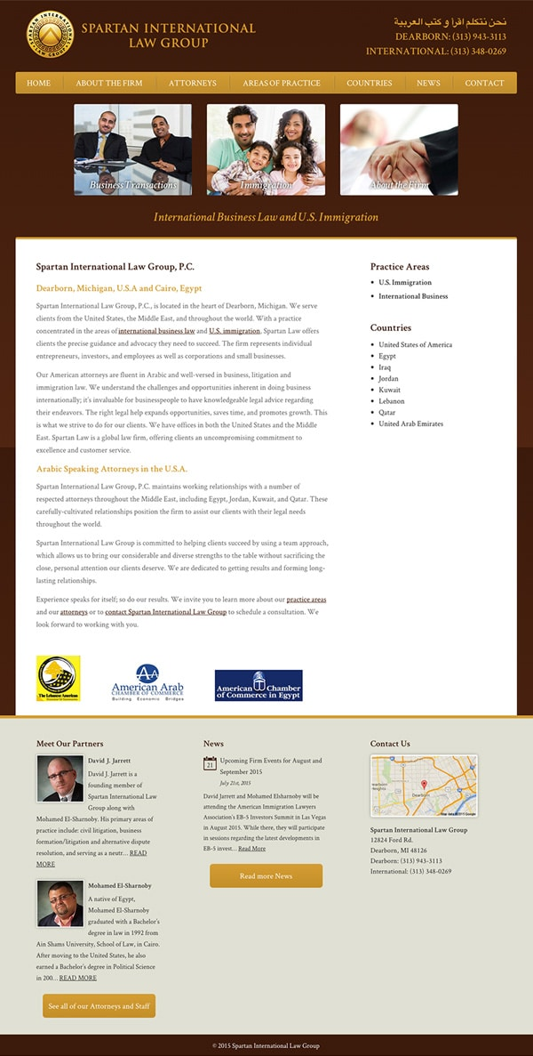 Law Firm Website Design for Spartan International Law Group