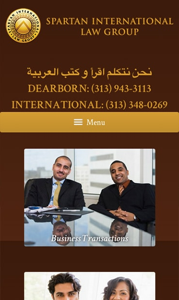 Responsive Mobile Attorney Website for Spartan International Law Group