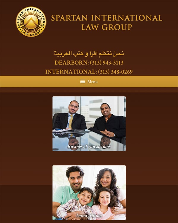 Mobile Friendly Law Firm Webiste for Spartan International Law Group