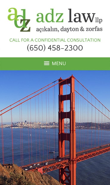 Responsive Mobile Attorney Website for ADZ Law, LLP