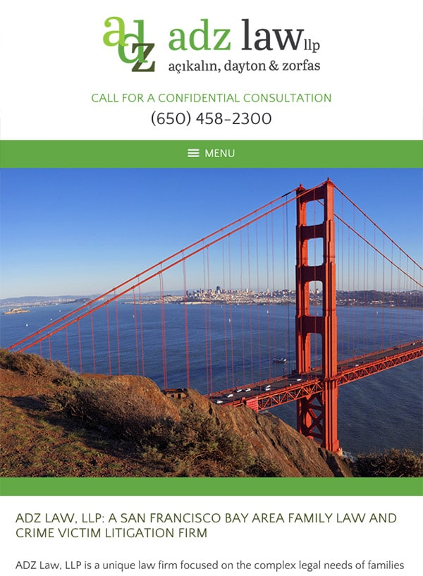 Mobile Friendly Law Firm Webiste for ADZ Law, LLP