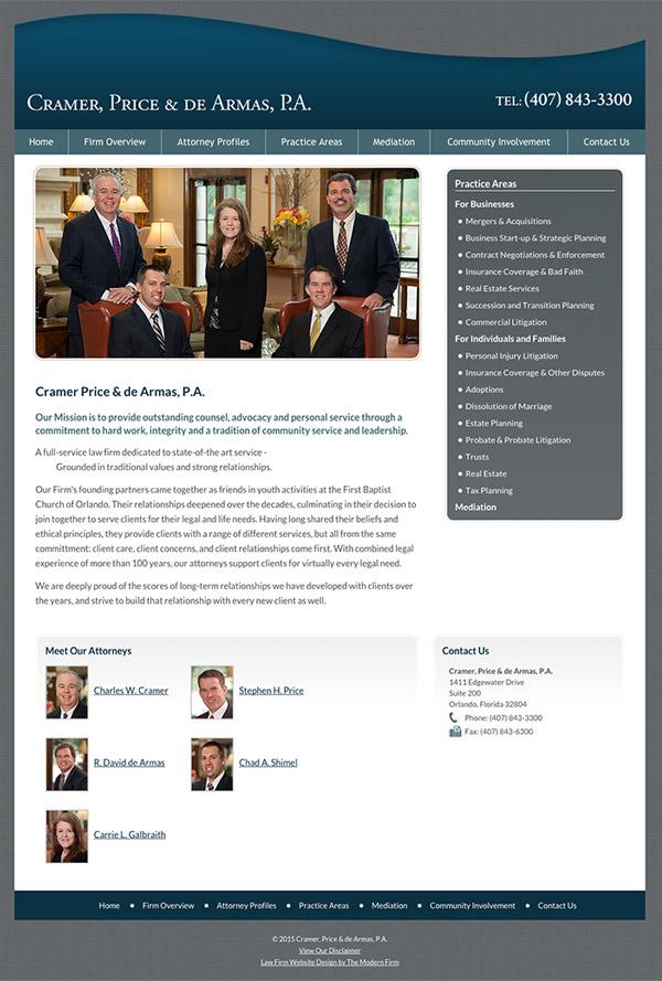 Law Firm Website Design for Cramer, Price & De Armas, P.A.