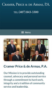 Orlando Florida Law Firm Website for Cell Phone