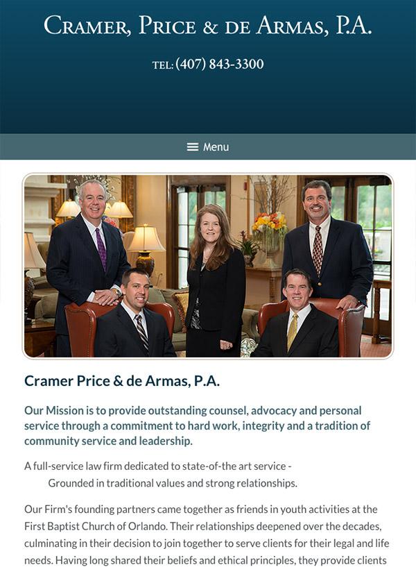 Mobile Friendly Law Firm Webiste for Cramer, Price & De Armas, P.A.