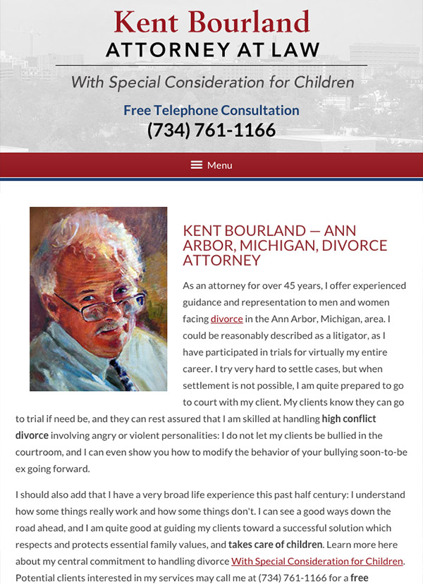 Mobile Friendly Law Firm Webiste for Kent Bourland