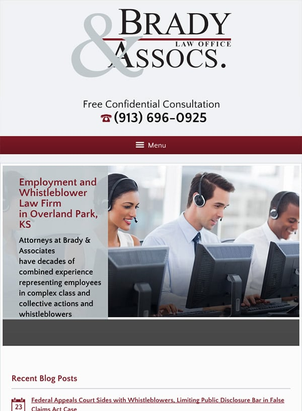 Mobile Friendly Law Firm Webiste for Brady & Associates