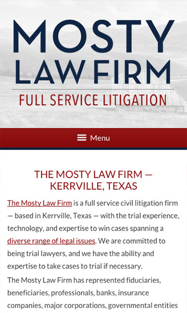 Responsive Mobile Attorney Website for Mosty Law Firm