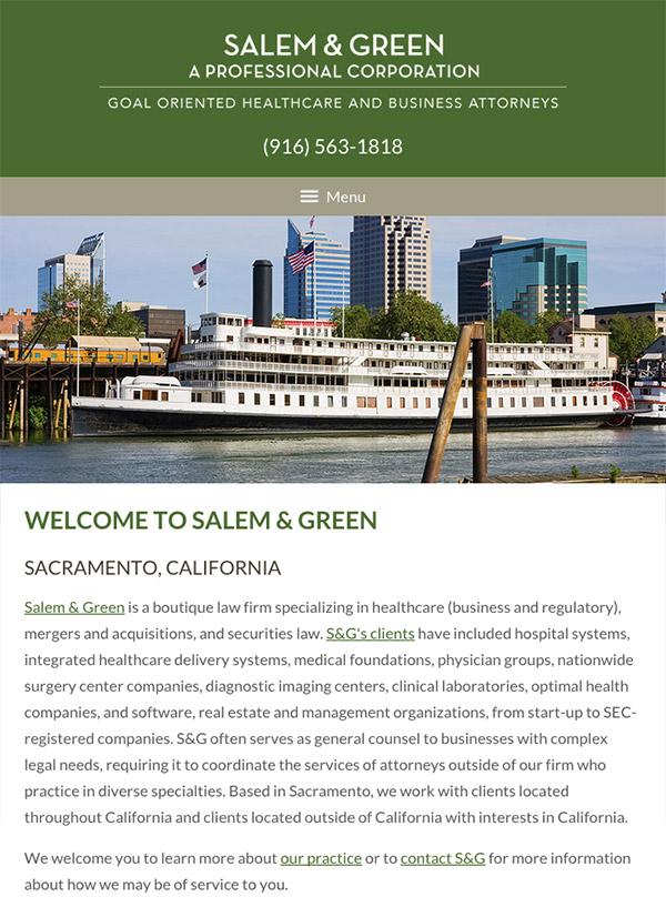 Mobile Friendly Law Firm Webiste for Salem & Green