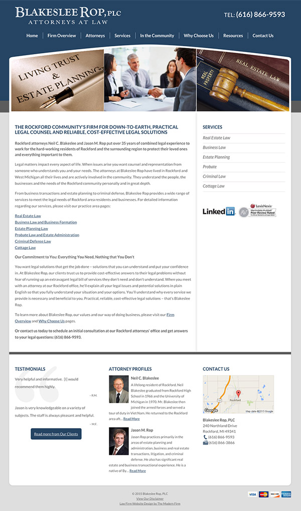 Law Firm Website Design for Blakeslee Rop, PLC