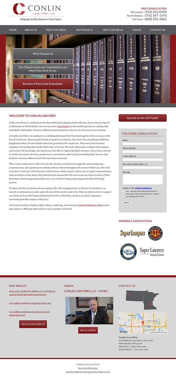 Law Firm Website Design for Conlin Law Firm, LLC