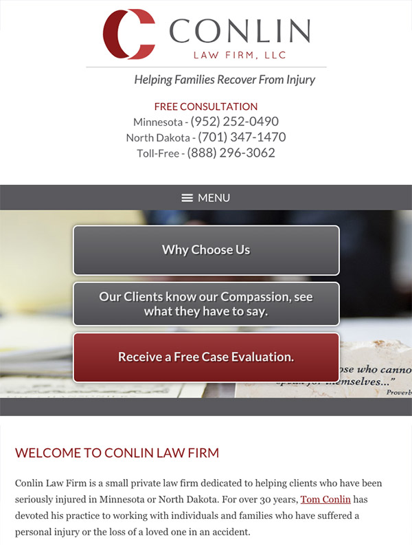 Mobile Friendly Law Firm Webiste for Conlin Law Firm, LLC