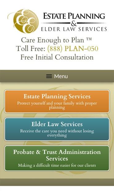 Responsive Mobile Attorney Website for Estate Planning & Elder Law Services, P.C.