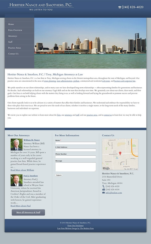 Law Firm Website Design for Heritier Nance and Smothers, P.C.