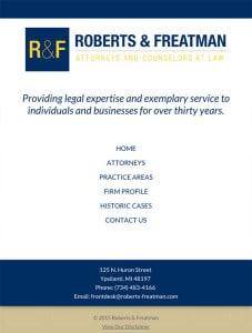 Ypsilanti Michigan Law Firm Tablet Website