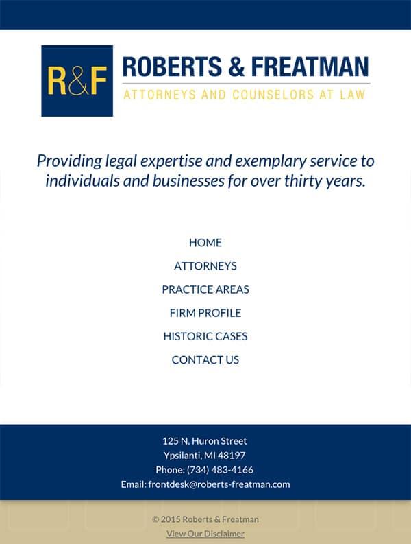 Mobile Friendly Law Firm Webiste for Roberts & Freatman