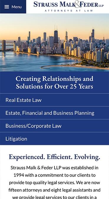 Responsive Mobile Attorney Website for Strauss & Malk LLP