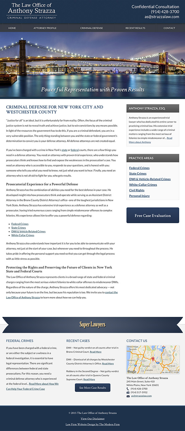Law Firm Website Design for The Law Office of Anthony Strazza