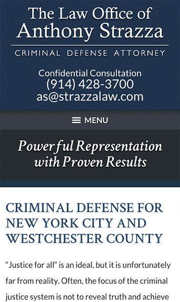 Responsive Mobile Attorney Website for The Law Office of Anthony Strazza