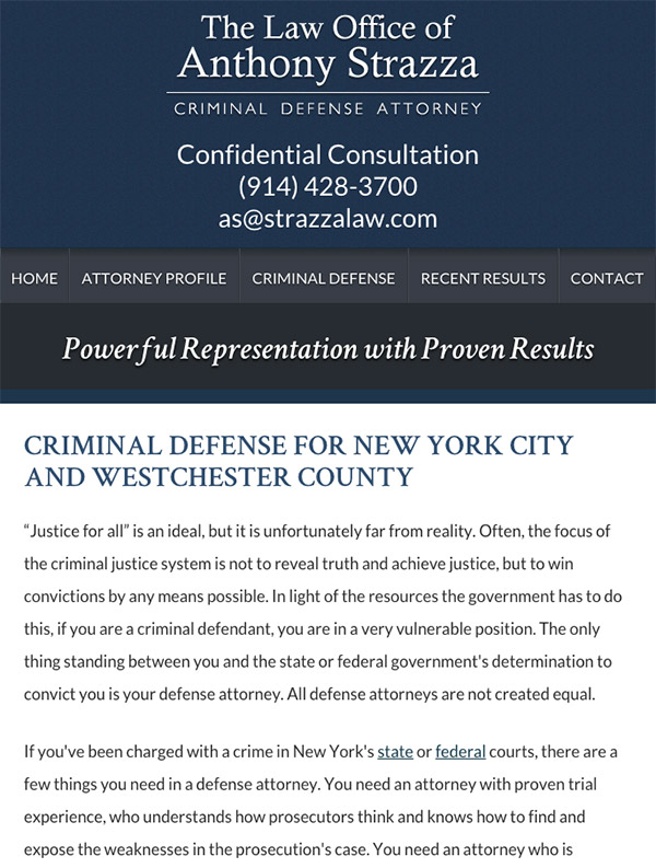 Mobile Friendly Law Firm Webiste for The Law Office of Anthony Strazza
