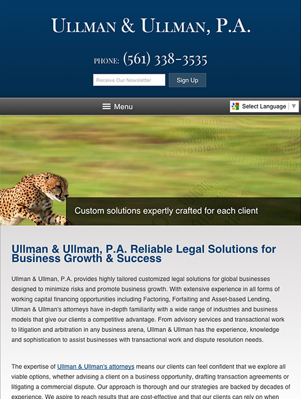 Mobile Friendly Law Firm Webiste for Ullman & Ullman, P.A.