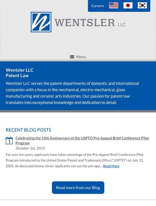 Mobile Friendly Law Firm Webiste for Wentsler LLC