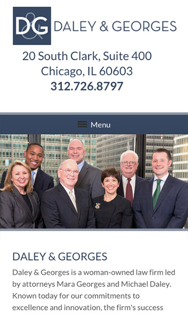 Responsive Mobile Attorney Website for Daley & Georges, Ltd.