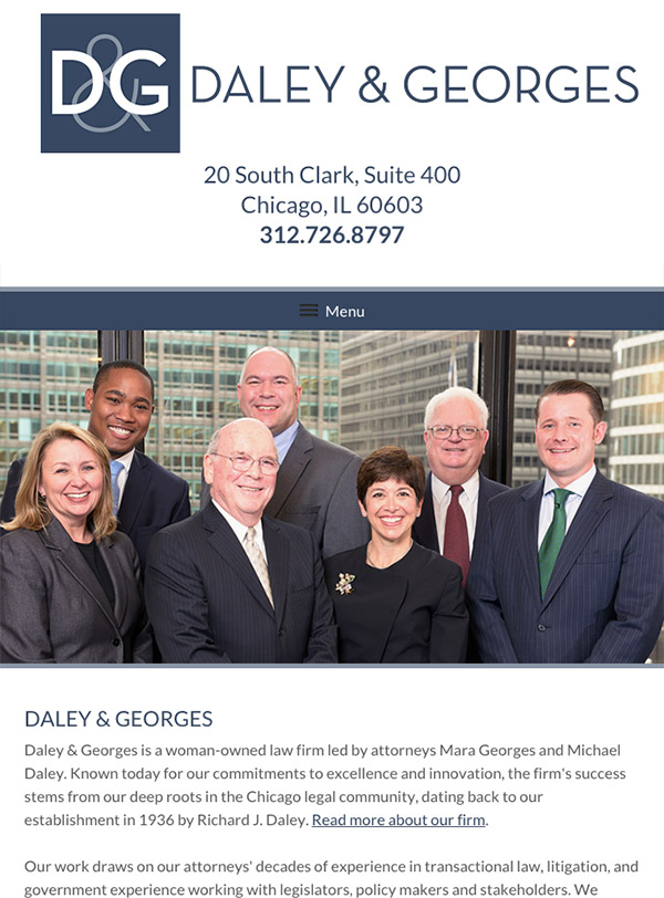 Mobile Friendly Law Firm Webiste for Daley & Georges, Ltd.