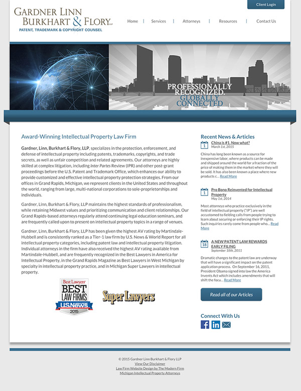 Law Firm Website for Gardner Linn Burkhart & Flory LLP