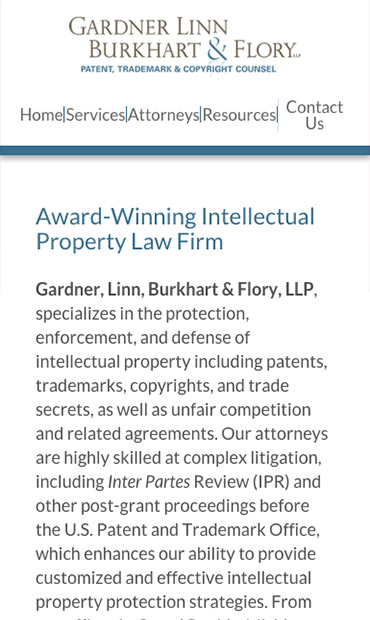 Responsive Mobile Attorney Website for Gardner Linn Burkhart & Flory LLP