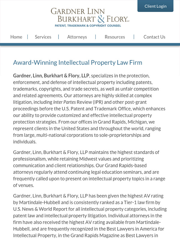 Mobile Friendly Law Firm Webiste for Gardner Linn Burkhart & Flory LLP