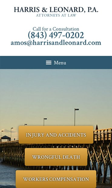 Responsive Mobile Attorney Website for Harris & Leonard, P.A.