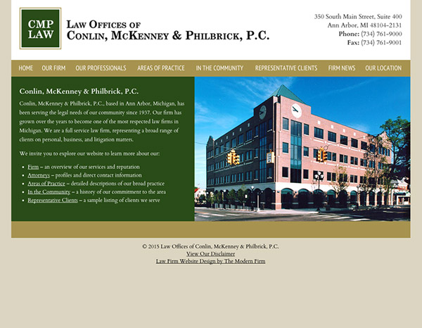 Law Firm Website Design for Law Offices of Conlin, McKenney & Philbrick, P.C.