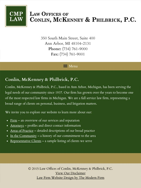 Mobile Friendly Law Firm Webiste for Law Offices of Conlin, McKenney & Philbrick, P.C.