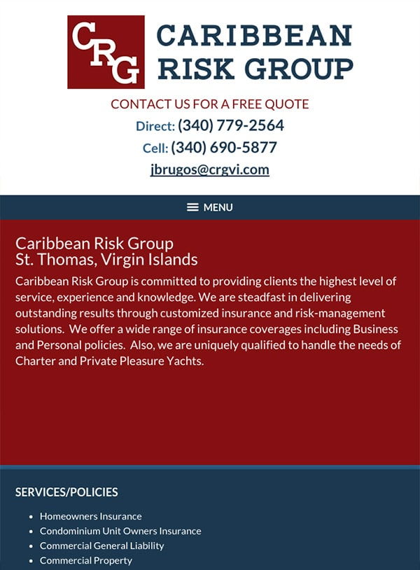 Mobile Friendly Law Firm Webiste for Caribbean Risk Group